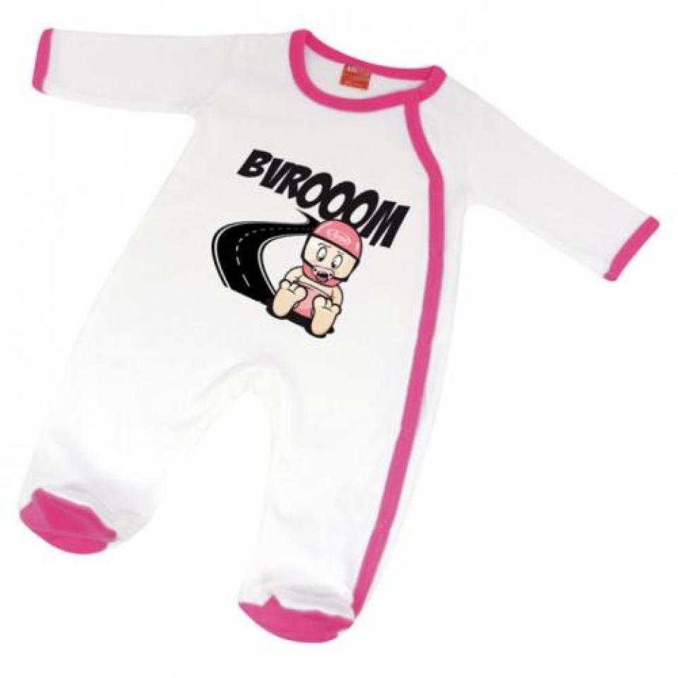Neuf Pyjama moto dort bien Bébé motard colori blanc rose taille 6 à